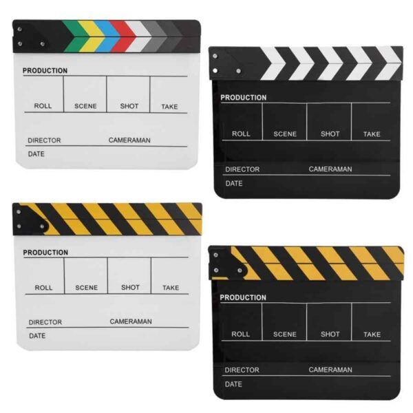 Acrylic Director Scene Clapperboard TV Movie Action Board Film Cut Prop with Pen Clap Board.jpg q50 1