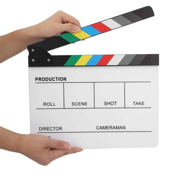 Acrylic Director Scene Clapperboard TV Movie Action Board Film Cut Prop with Pen Clap Board.jpg q50 2