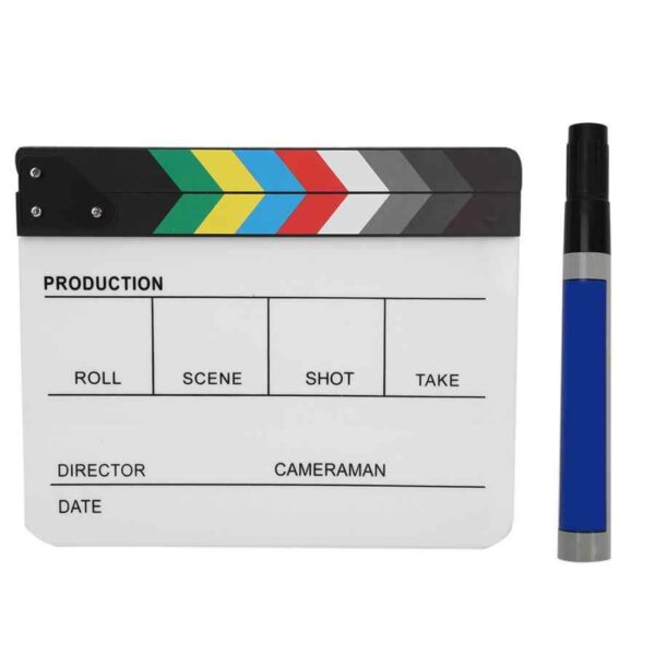 Acrylic Director Scene Clapperboard TV Movie Action Board Film Cut Prop with Pen Clap Board.jpg q50 5