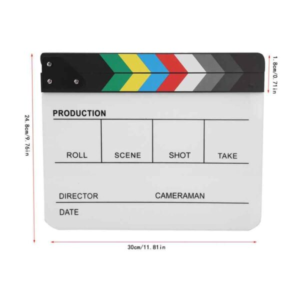 Acrylic Director Scene Clapperboard TV Movie Action Board Film Cut Prop with Pen Clap Board.jpg q50